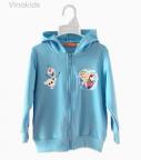 Áo khoác bé gái in elsa màu xanh đại