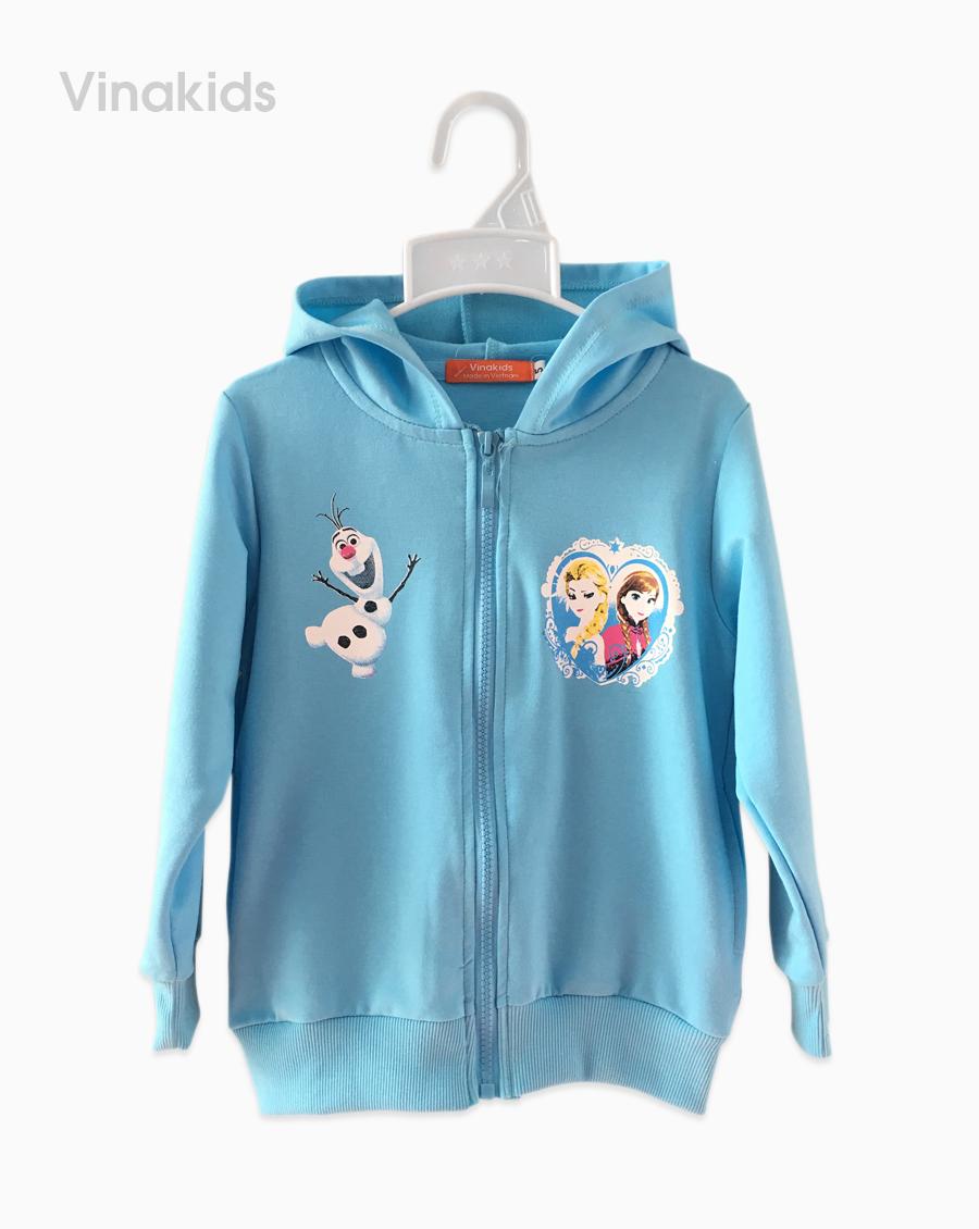 Áo khoác bé gái da cá Elsa & Anna màu xanh size nhí