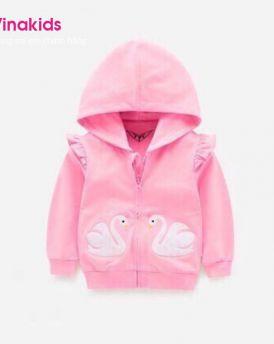 Áo khoác bé gái thiên nga màu hồng sen size đại (9-14 Tuổi)
