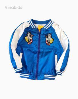 Áo khoác bé trai kiểu bóng chày thêu phượng màu xanh (1-6 tuổi)
