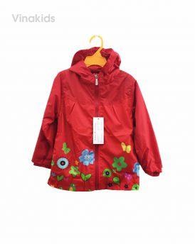Áo khoác gió bé gái hình hoa màu đỏ (2-7 tuổi)