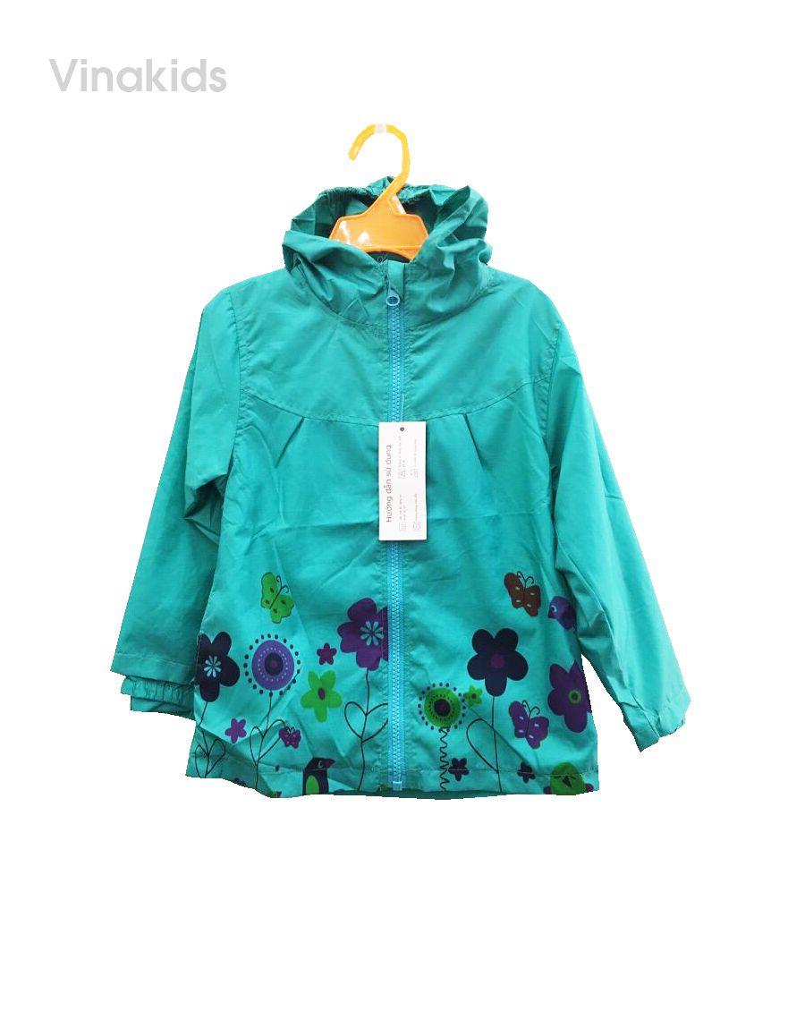 Áo khoác gió bé gái hình hoa màu xanh (2-7 tuổi)