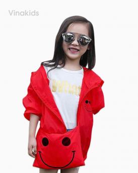 Áo khoác gió bé gái mặt cười size nhí màu đỏ