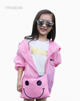 Áo khoác gió bé gái mặt cười size nhí màu hồng phần