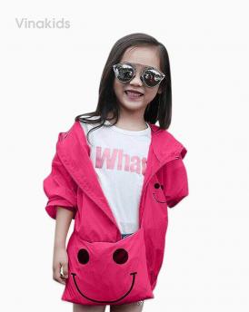 Áo khoác gió bé gái mặt cười size nhí màu hồng sen