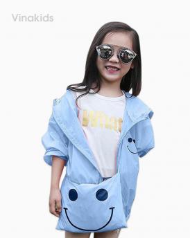 Áo khoác gió bé gái mặt cười size nhí màu xanh biển