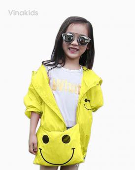 Áo khoác gió bé gái mặt cười size nhí màu xanh vàng