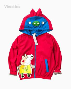 Áo khoác gió bé trai hình chú lợn peppax màu đỏ (1-7 tuổi)