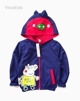 Áo khoác gió bé trai hình chú lợn peppax màu tím than (1-7 tuổi)