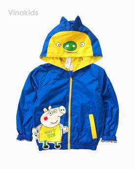Áo khoác gió bé trai hình chú lợn peppax màu xanh (1-7 tuổi)