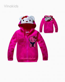 Áo khoác kitty bé gái size đại màu hồng sen