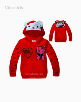 Áo khoác kitty bé gái size nhí màu đỏ
