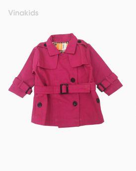 Áo khoác măng tô bé gái thắt đai màu hồng sen (1-7 tuổi)