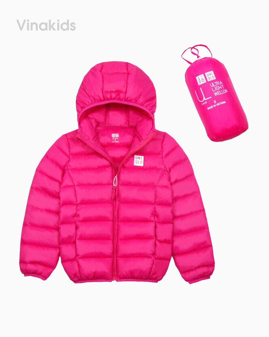 Áo khoác phao bé gá bỏ túi màu hồng sen(8-15Tuổi)