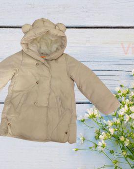 Áo khoác phao bé gái lót lông đại hàn màu kem (2-4 tuổi)