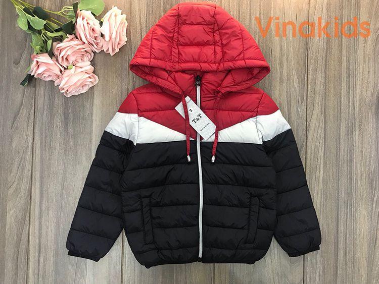 Áo khoác phao bé trai siêu nhẹ ba khaong phối đỏ (2-9 tuổi)