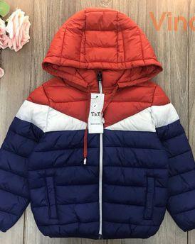 Áo khoác phao bé trai siêu nhẹ ba khaong phối đỏ cam (2-9 tuổi)