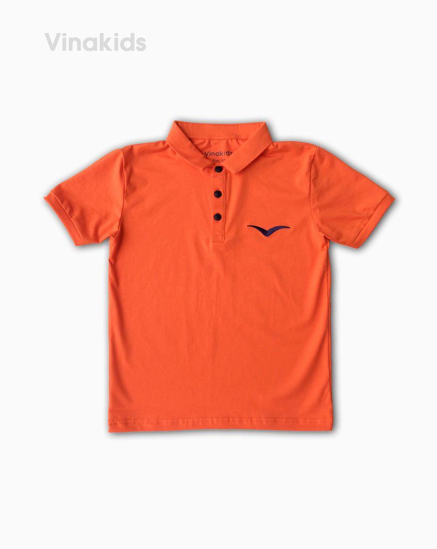 Áo kiểu dáng polo bé trai thêu logo Vinakids màu cam size 8-12 tuổi