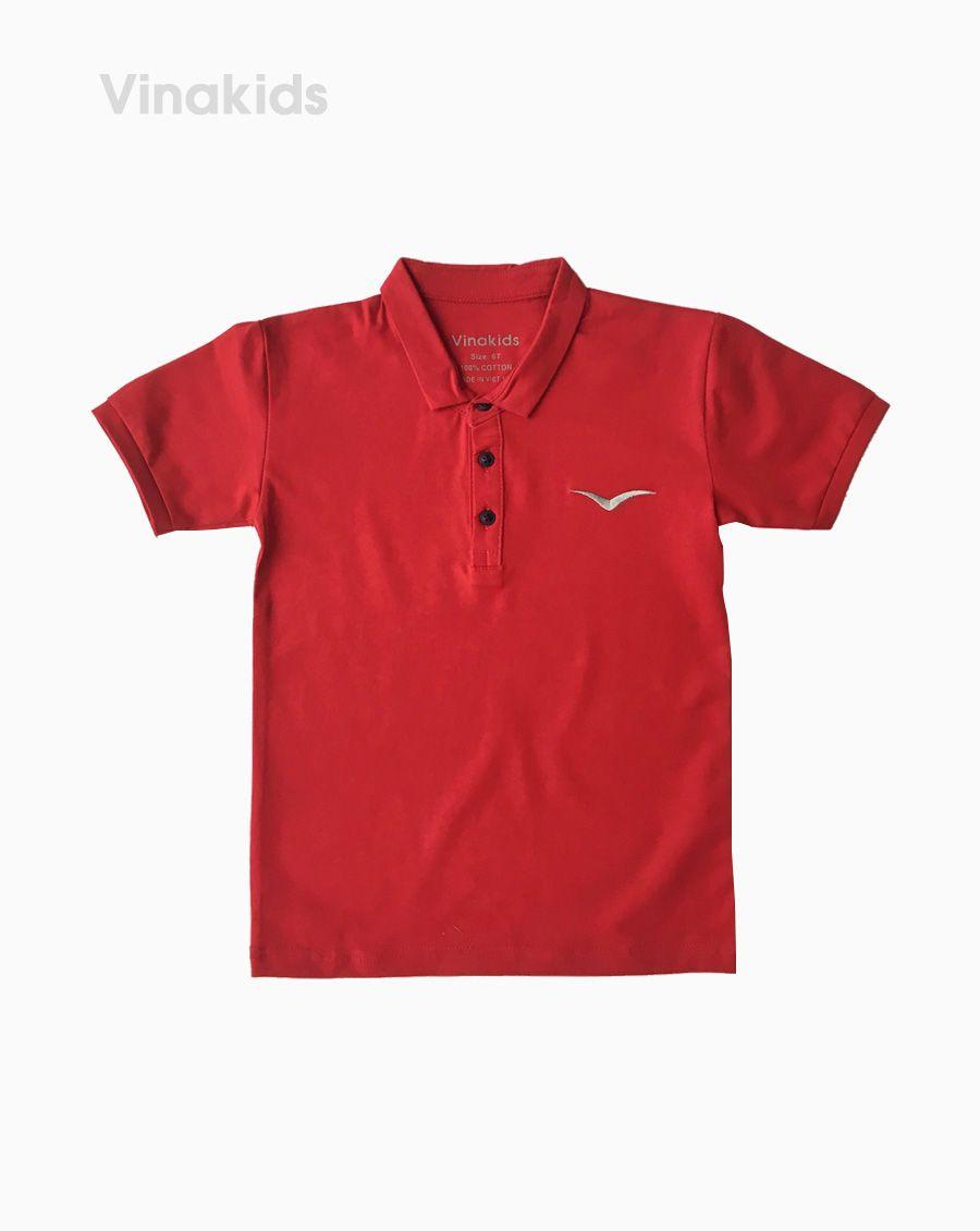 Áo kiểu dáng polo bé trai thêu logo Vinakids màu đỏ mận (1-7 tuổi)