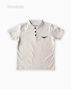 Áo kiểu dáng polo bé trai thêu logo Vinakids màu ghi 1-7 tuổi