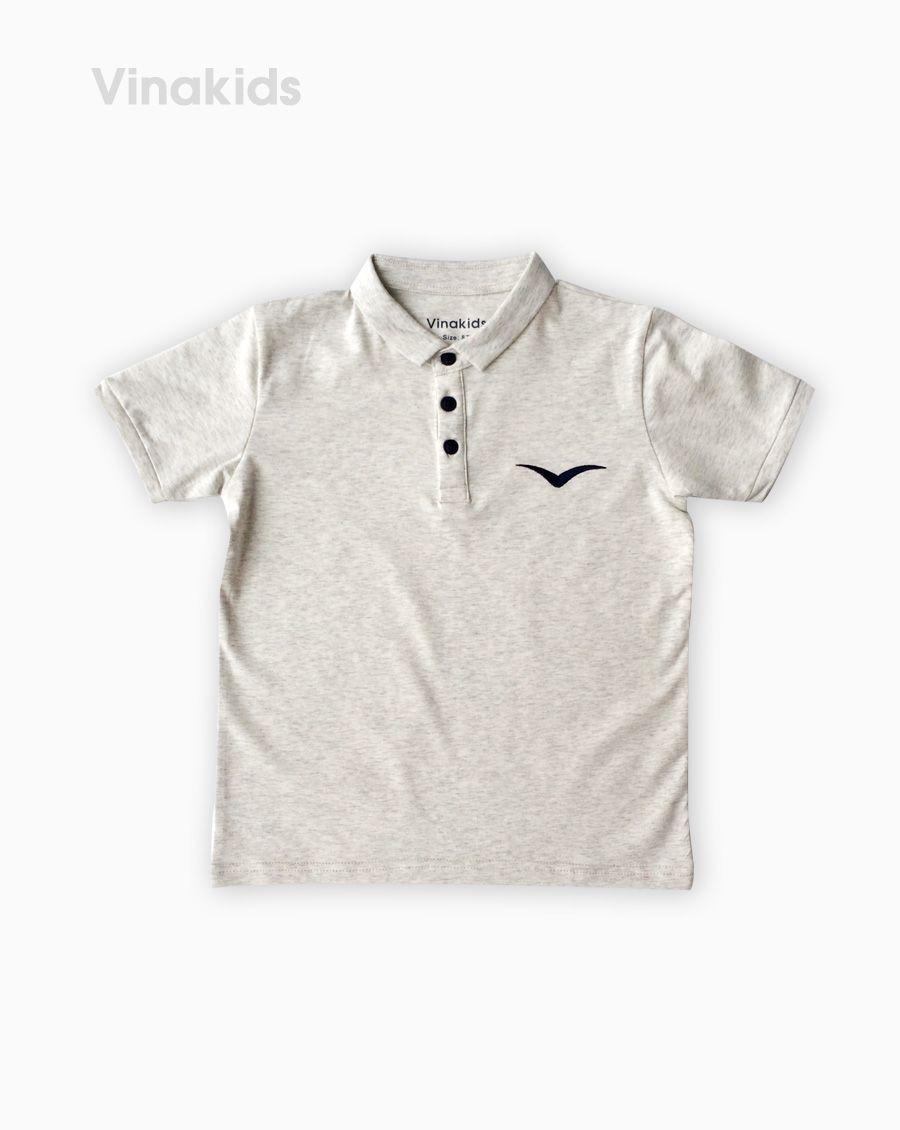 Áo kiểu dáng polo bé trai thêu logo Vinakids màu ghi size 8-12 tuổi