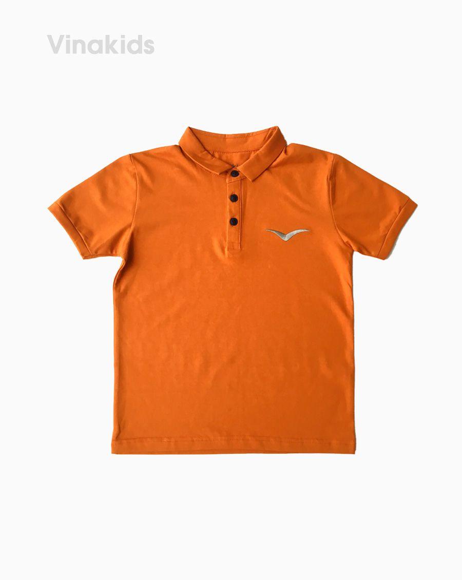 Áo kiểu dáng polo bé trai thêu logo Vinakids màu vàng đất size 8-12 tuổi