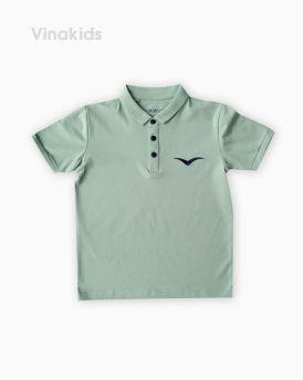 Áo kiểu dáng polo bé trai thêu logo Vinakids màu xanh size 8-12 tuổi