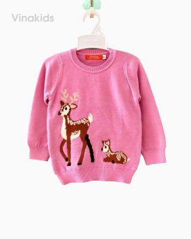 Áo len bé gái thêu hươu màu hồng