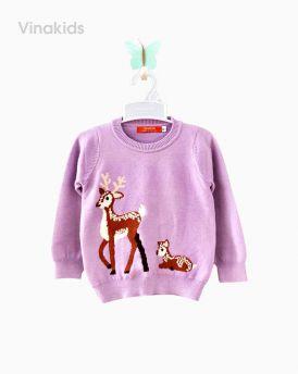 Áo len bé gái con hươu màu tím ( 2- 10 Tuổi)