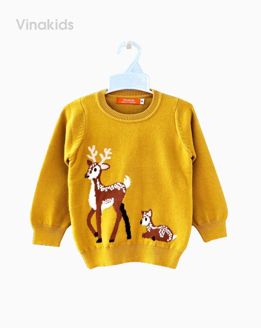 Áo len bé gái thêu hươu màu vàng