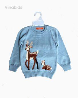 Áo len bé gái con hươu màu xanh ( 2- 10 Tuổi)
