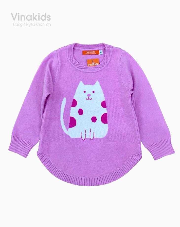 Áo len bé gái Mèo màu hồng phấn size 2-10
