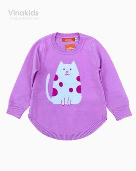Áo len bé gái dệt hình mèo màu hồng phấn (2-9 tuổi)