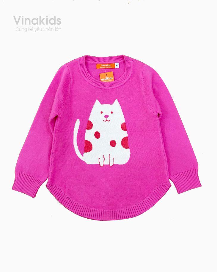 Áo len bé gái Mèo màu hồng sen size 2-10