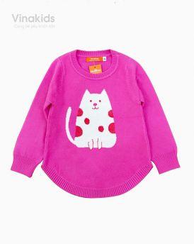 Áo len bé gái dệt hình mèo màu hồng sen (2-9 tuổi)