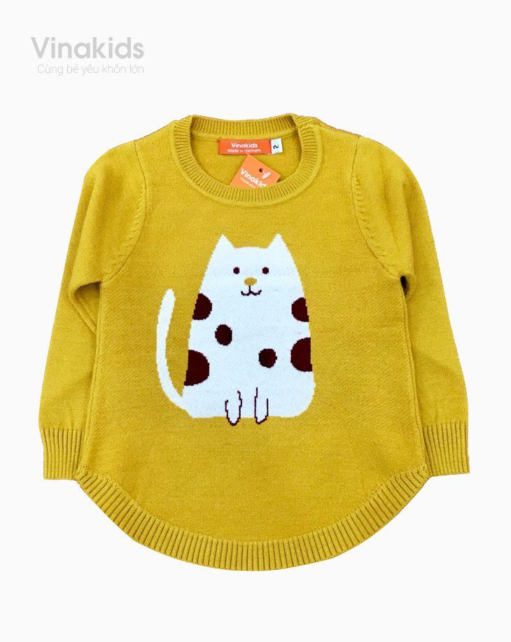 Áo len bé gái dệt hình mèo màu vàng