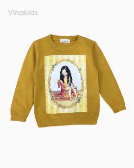 Áo len bé gái hình cô gái màu vàng (5-8 tuổi)