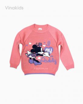 Áo len bé gái mimi màu hồng nhạt