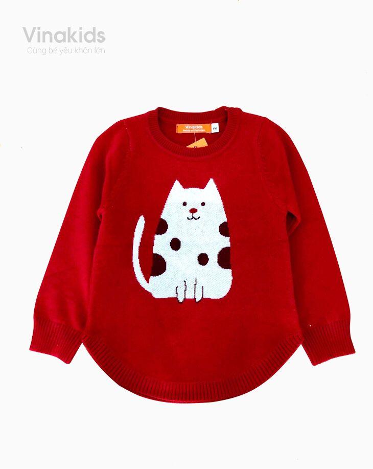 Áo len bé gái thêu Mèo màu đỏ (1-9 tuổi)