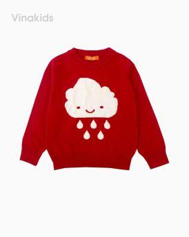 Áo len bé gái thêu hình mây mưa màu đỏ (1-7 Tuổi)