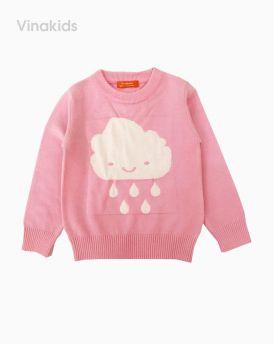 Áo len bé gái thêu hình mây mưa màu hồng phấn (1-7 Tuổi)