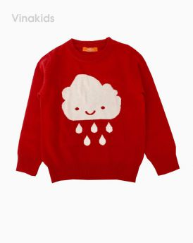 Áo len bé gái thêu hình mây mưa màu hồng sen (1-7 Tuổi)