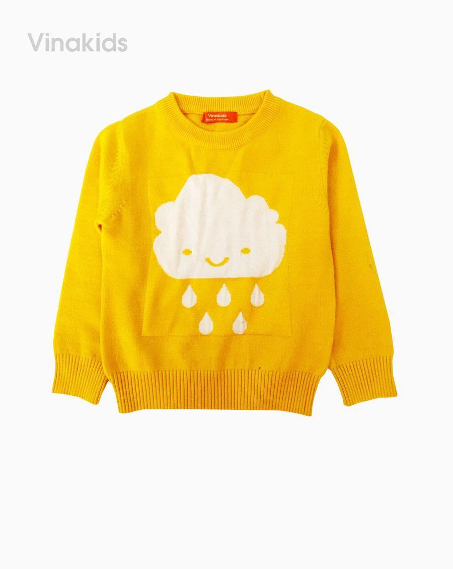 Áo len bé gái thêu hình mây mưa màu vàng (1-7 Tuổi)