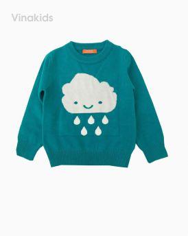 Áo len bé gái thêu hình mây mưa màu xanh (1-7 Tuổi)