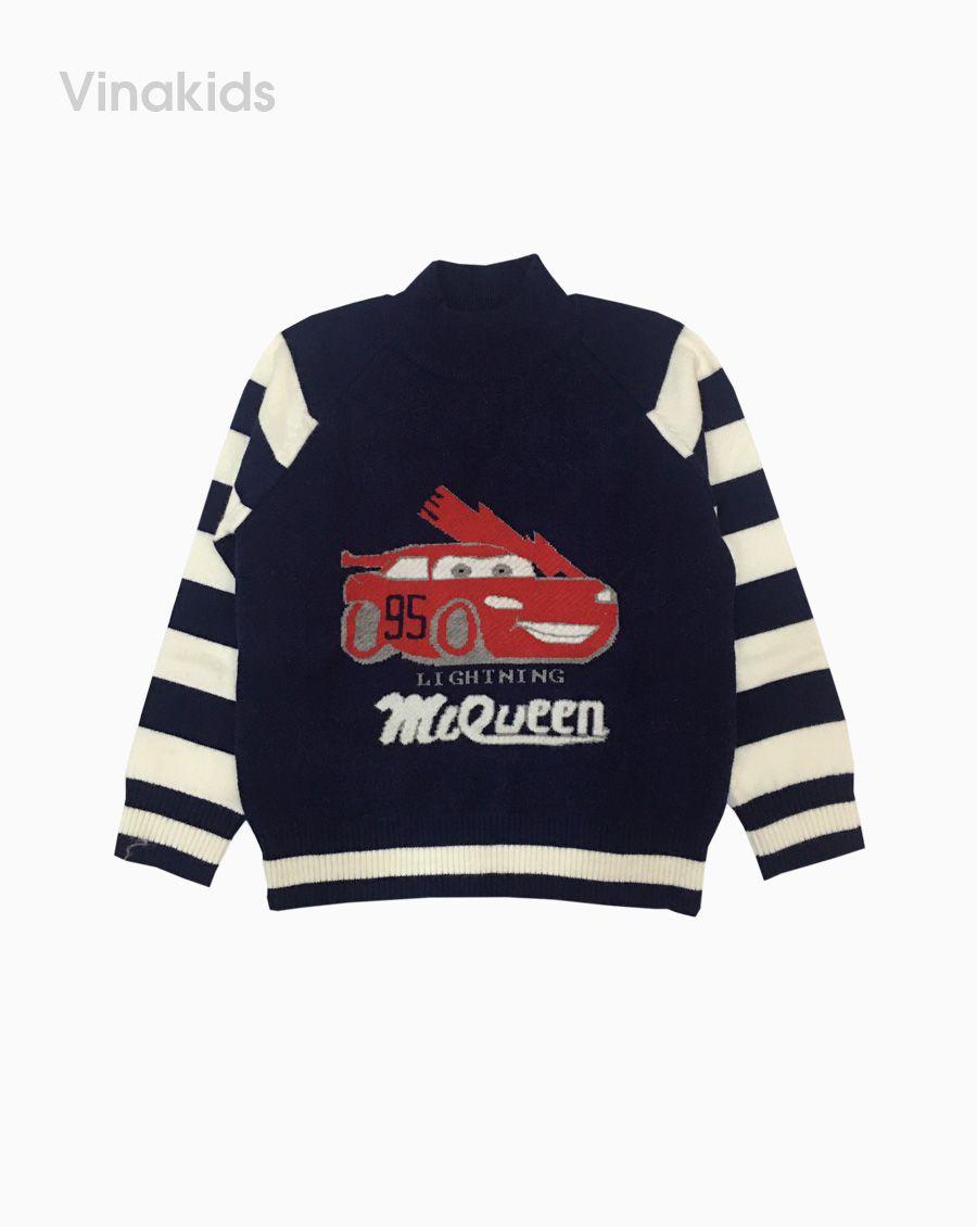 Áo len bé trai cổ ba phân hình ô tô MC màu tím than (2-9 tuổi)