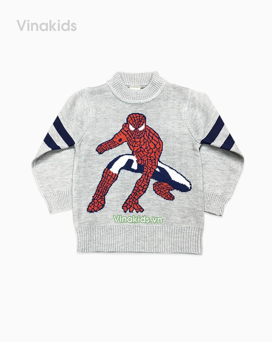 Áo len bé trai người nhện màu ghi