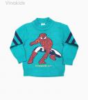 Áo len bé trai người nhện màu xanh