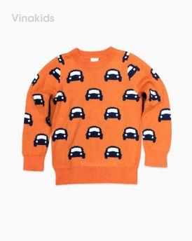 Áo len bé trai ô tô màu cam