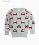 Áo len bé trai ô tô màu ghi