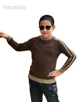 Áo len bé trai thể thao màu cafe